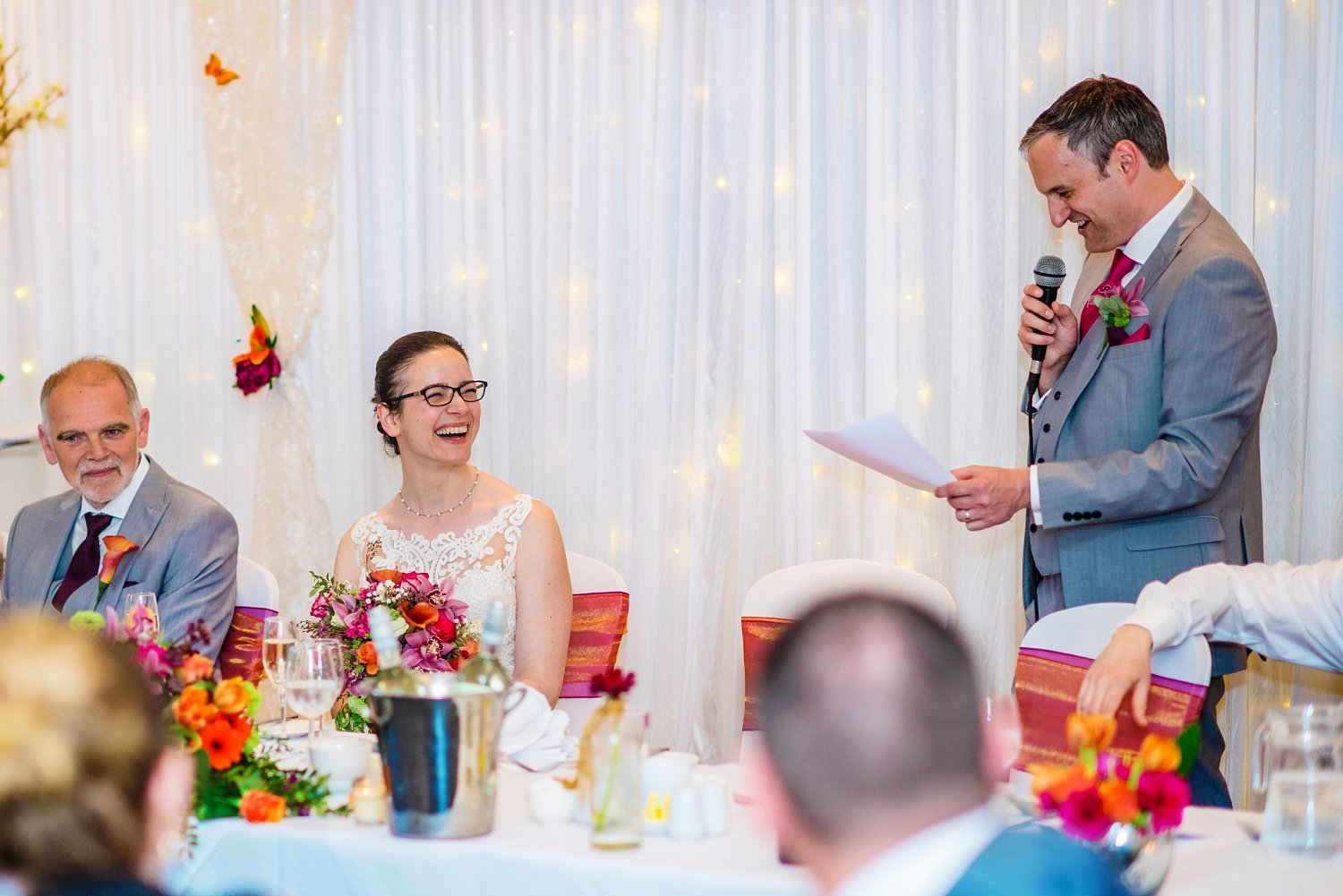 New Place Hotel Wedding - groom's speech, laughing bride