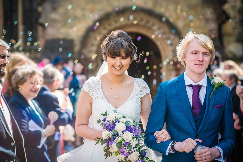 bubble instead of confetti- wedding portrait photo - wedding photographer Petersfield