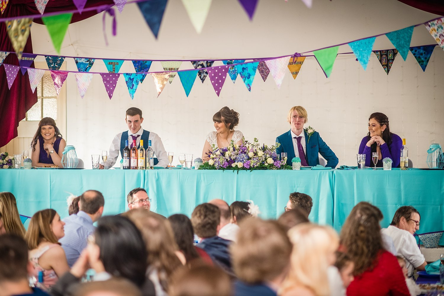 top table laughing - Petersfield Wedding Photography