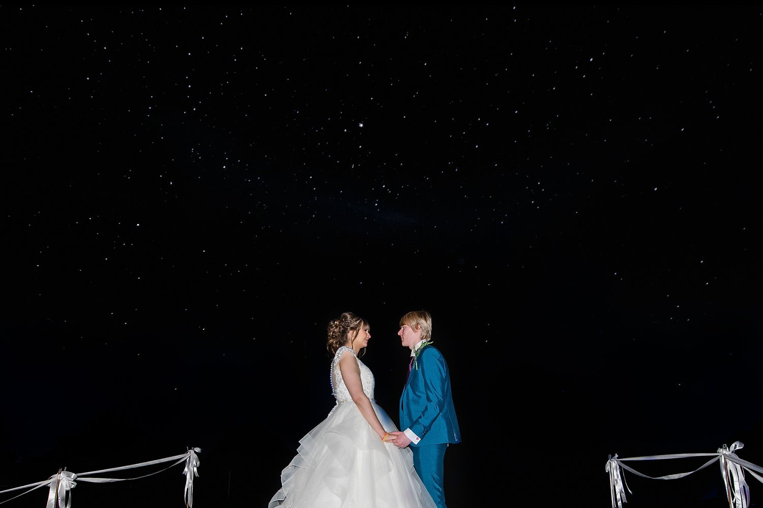 Petersfield Wedding Photography - last photo of the day, bride and groom photo on dark, clear sky