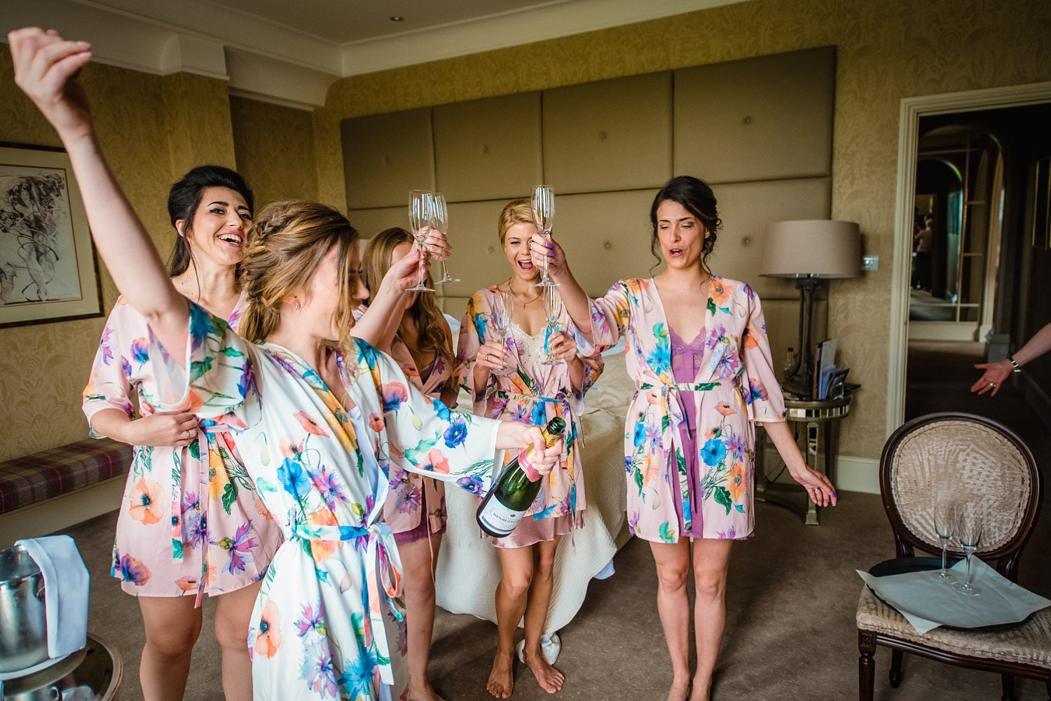 Fun-Filled wedding in Pembroke Lodge - Bridesmaids are having a toast