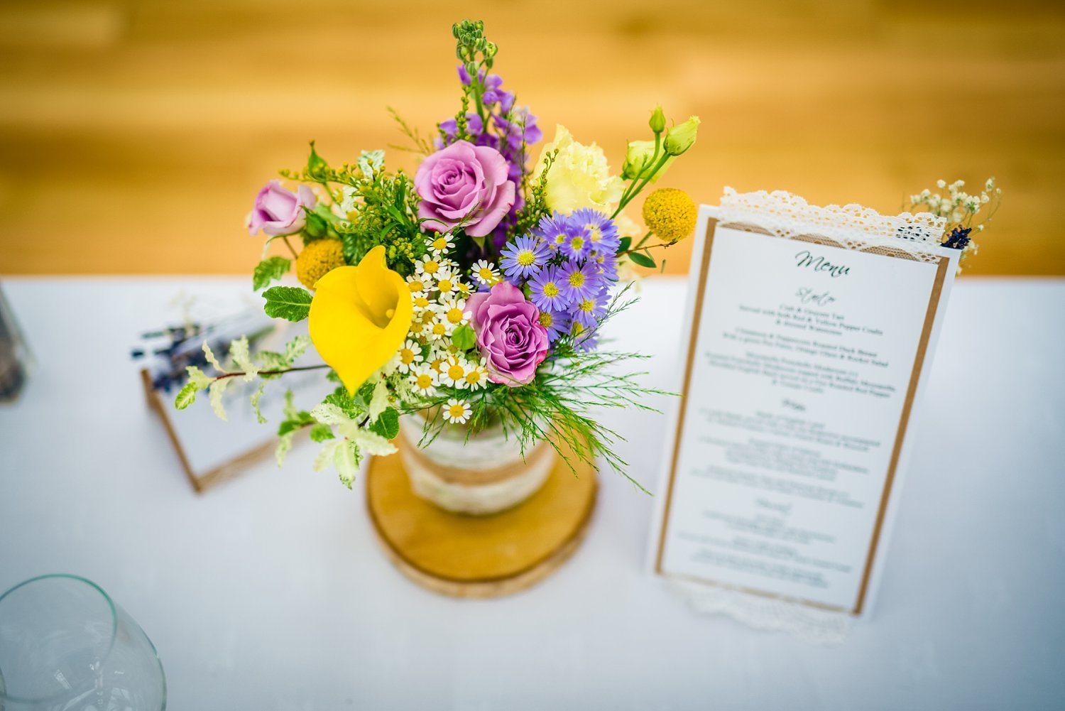 Fun-Filled wedding in Pembroke Lodge - flowers on the table