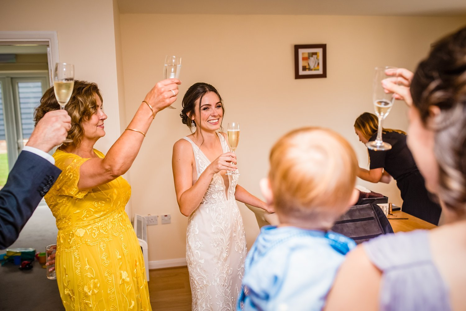 Colville Hall Weding Photographer - bride having a toast