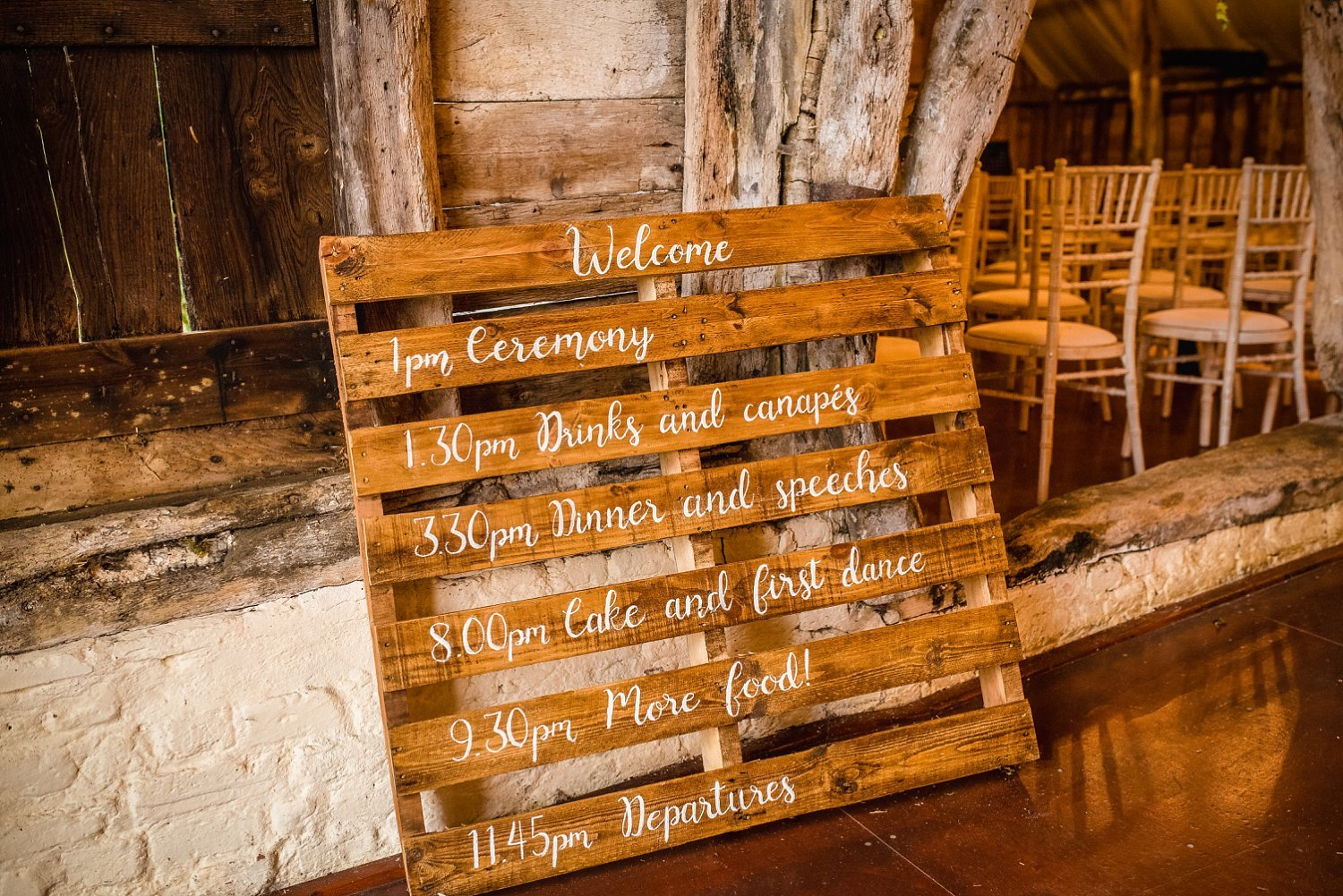 Colville Hall Weding Photographer-order of the day painted with white paint on wooden palette