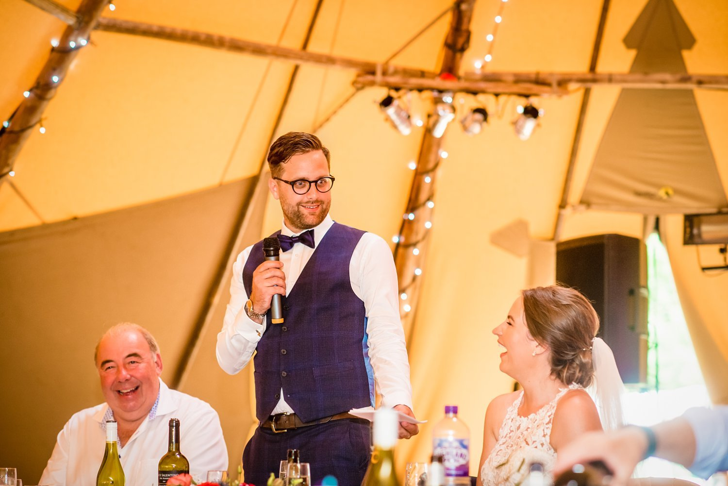 Duncton Mill Fishery Wedding - groom is doing the speech