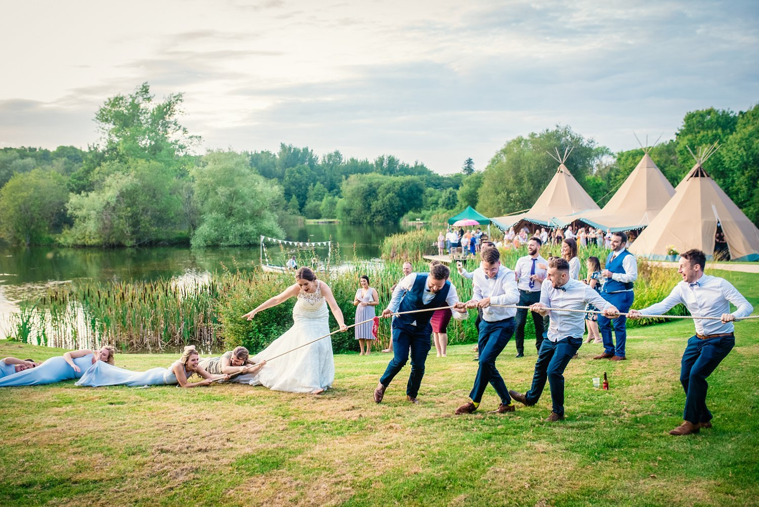 Duncton Mill Fishery Wedding - tug of war
