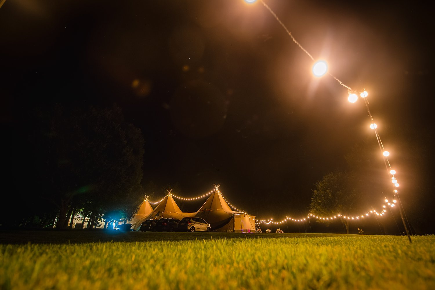 Farnham Wedding Photographer - tipi at night